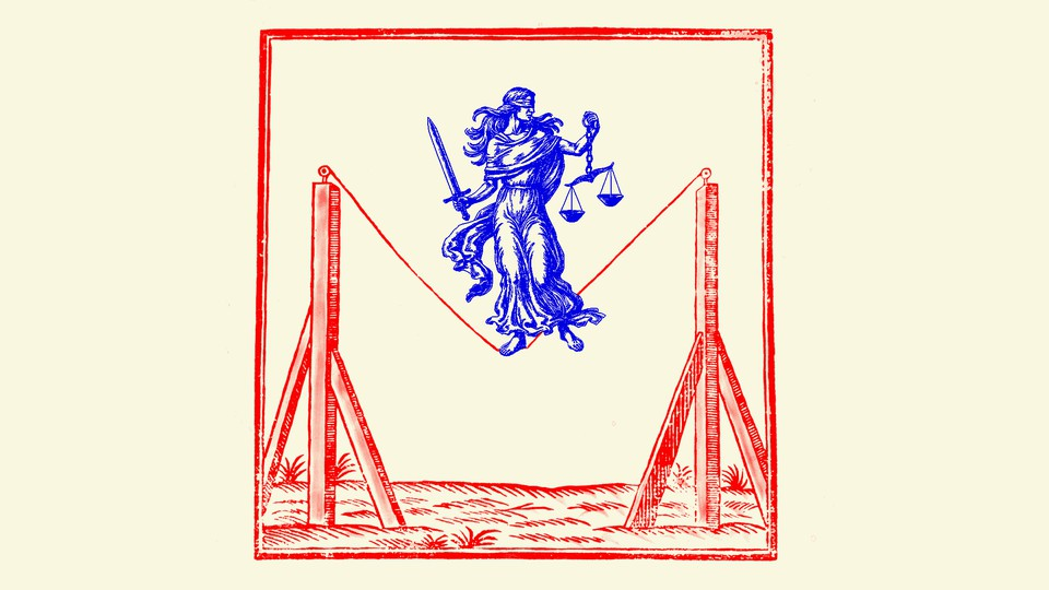 An illustration of Lady Justice standing on a tightrope