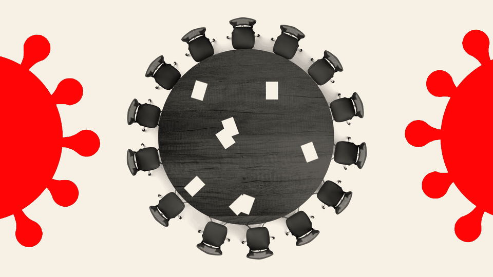 An illustration of a conference table shaped like a coronavirus particle.