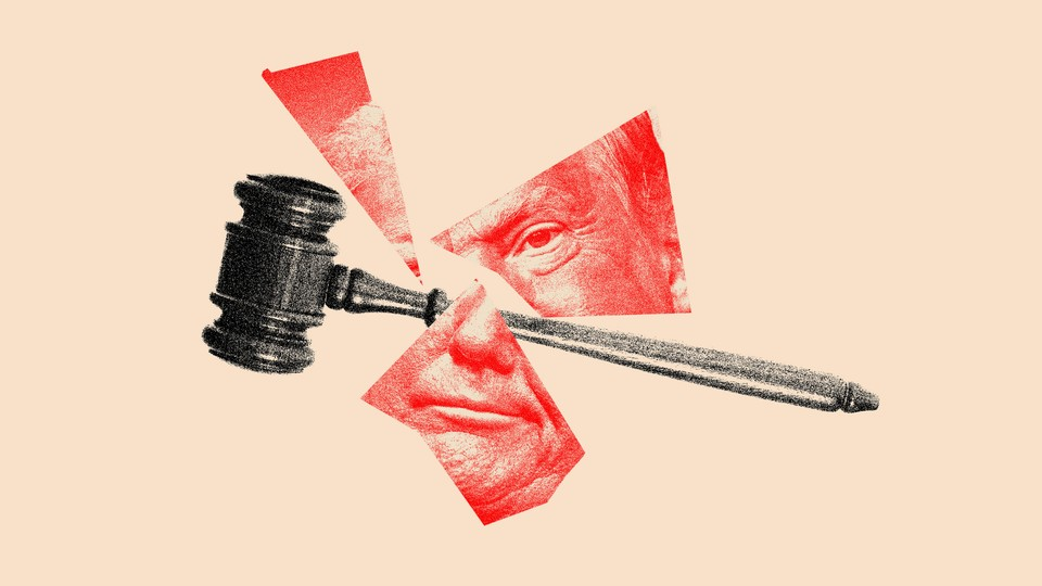 A photo illustration of a gavel smashing a portrait of Donald Trump.