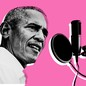 Barack Obama speaking into a microphone against a pink background