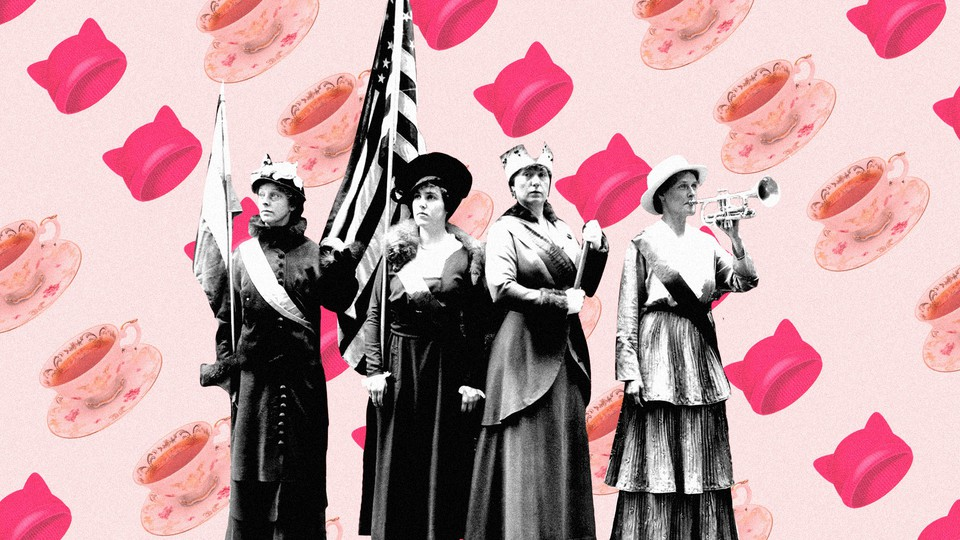 Suffragettes on a background of pussy hats and teacups