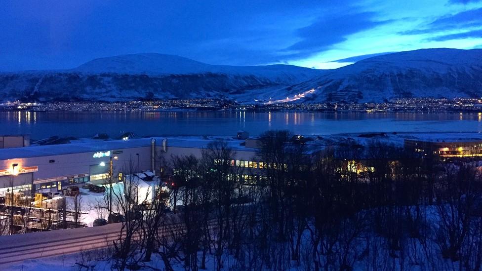 A Norwegian city at night
