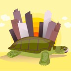An illustration of a turtle with a city on its shell