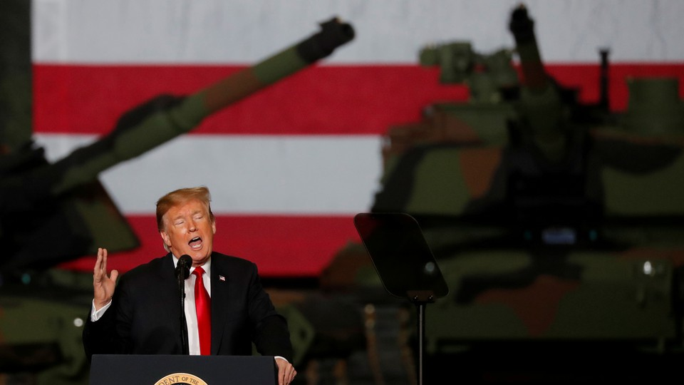 President Donald Trump speaks at a tank-manufacturing plant in Lima, Ohio, in March.