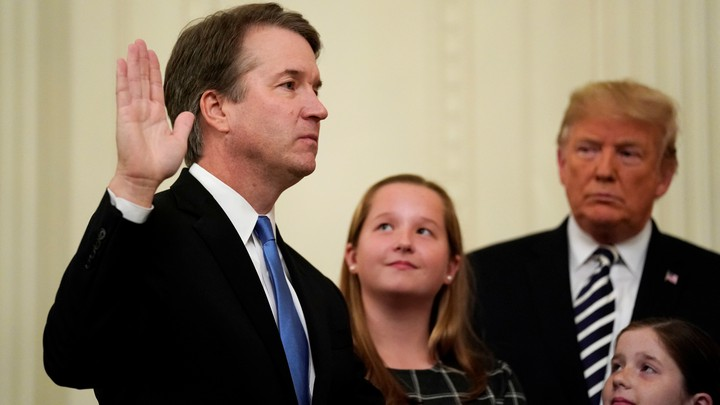 Brett Kavanaugh is sworn in on October 8, 2018.