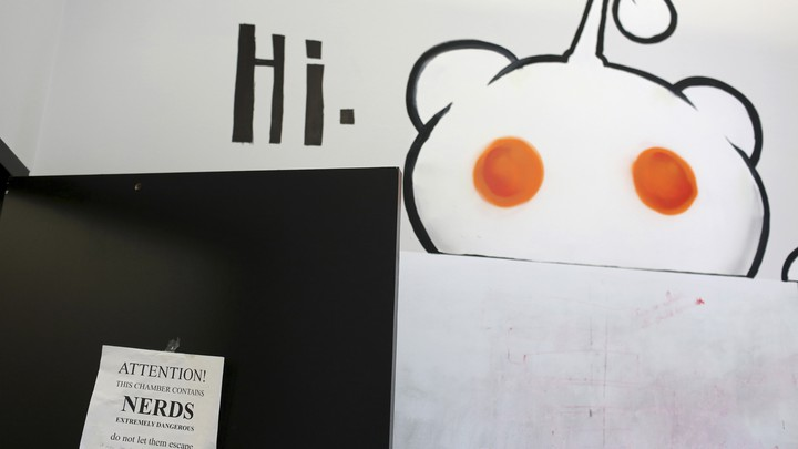 "A sign that says ""hi,"" hangs on the door of an office at Reddit headquarters in San Francisco, California."