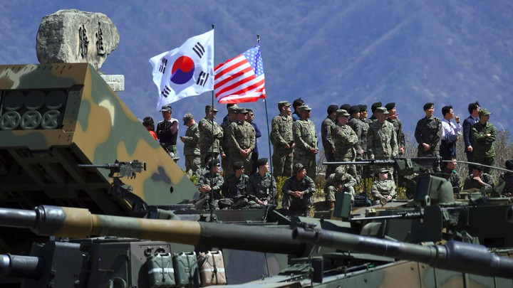 South Korean and American soldiers participate in a joint military exercise in South Korea in 2017.