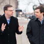 James Mueller (left) talks to South Bend Mayor Pete Buttigieg (right)
