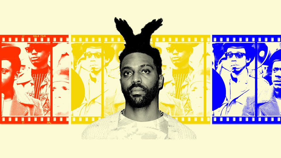 Cutout of the director Shaka King against a red, yellow, and blue film strip