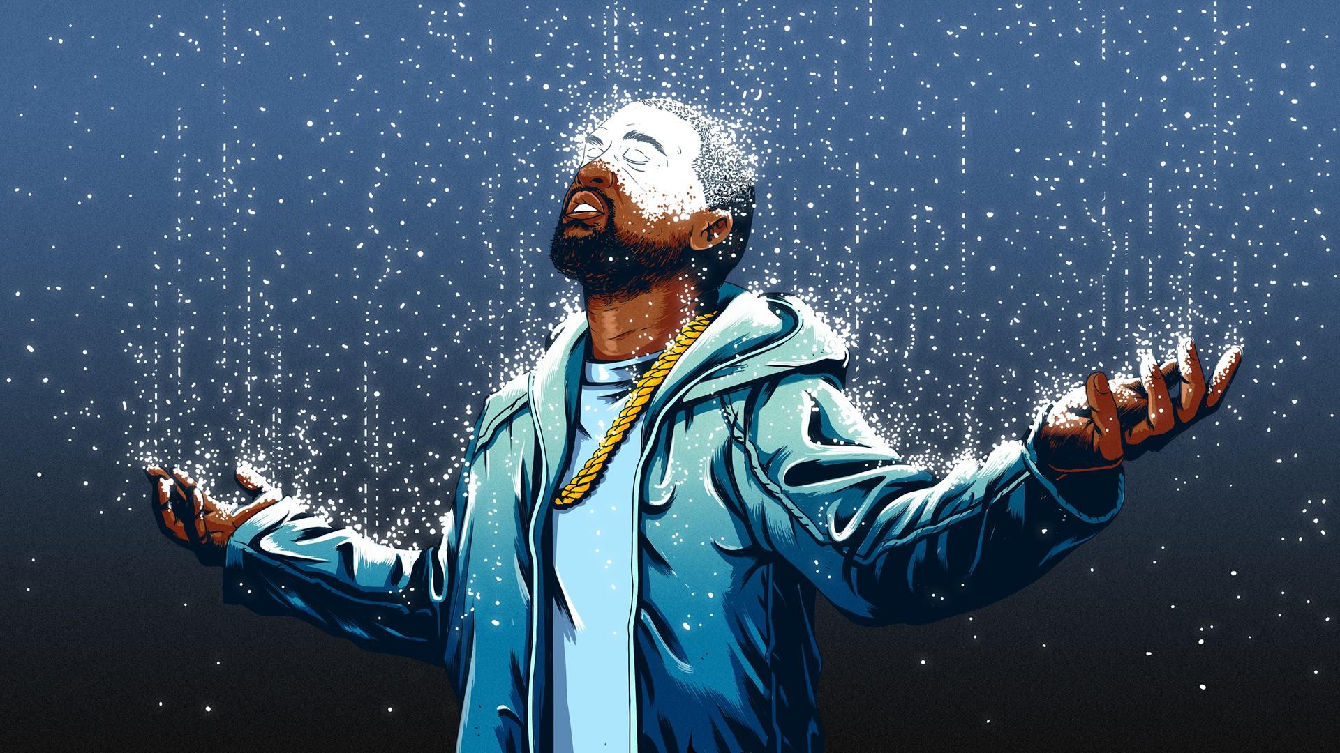 An illustration of cascading droplets turning Kanye West, a black man, white