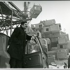 Moshe Safdie observing construction at Habitat 67