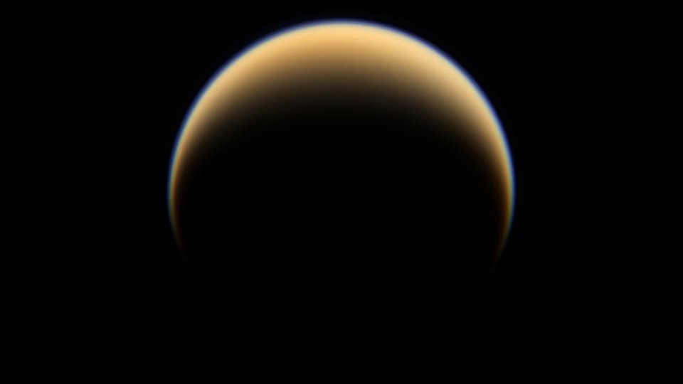 Titan, Saturn's largest moon, as seen by the Cassini spacecraft