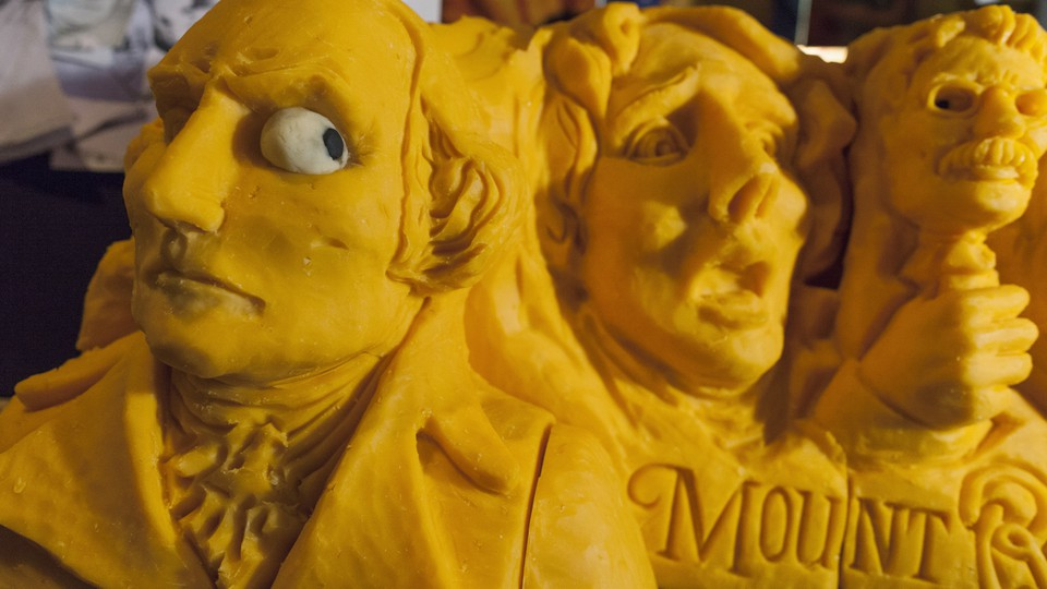 A 160-pound cheddar cheese sculpture of Mount Rushmore, created in 2013