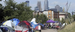 A photo of an encampment of homeless people outside Minneapolis,
