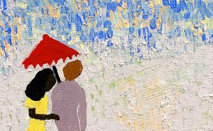 A painting of a man and a woman under an umbrella