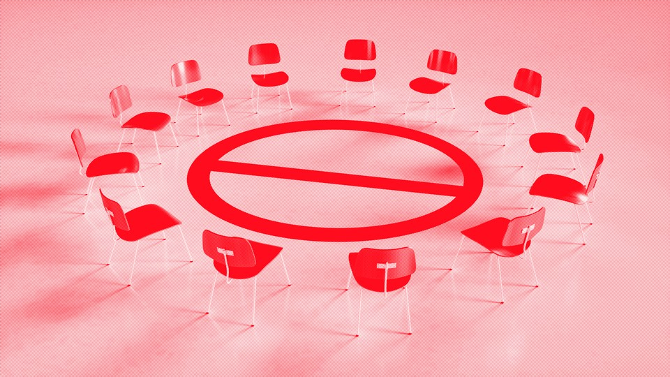 """A circle of chairs representing a support group set around a """"no"""" symbol"""