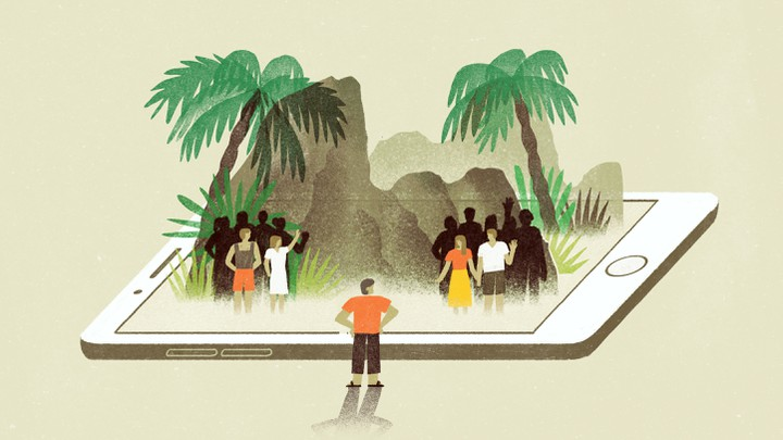 An illustration of an island popping out of a giant smart phone.