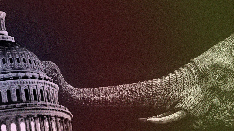An illustration of an elephant pushing over the U.S. Capitol.