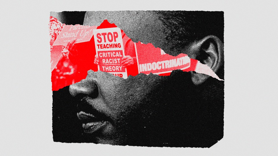 An illustration of Martin Luther King Jr.'s face obscured by signs protesting against critical race theory