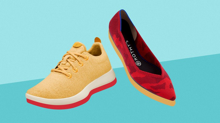 Two shoes: a sneaker by Allbirds and a flat by Rothy's