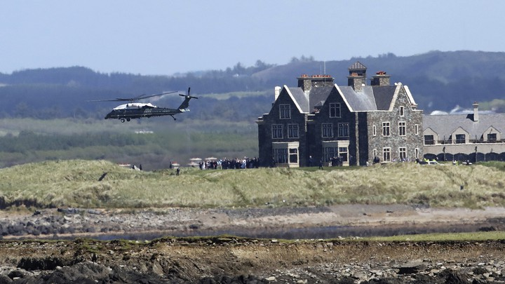 Marine One takes off from Doonbeg