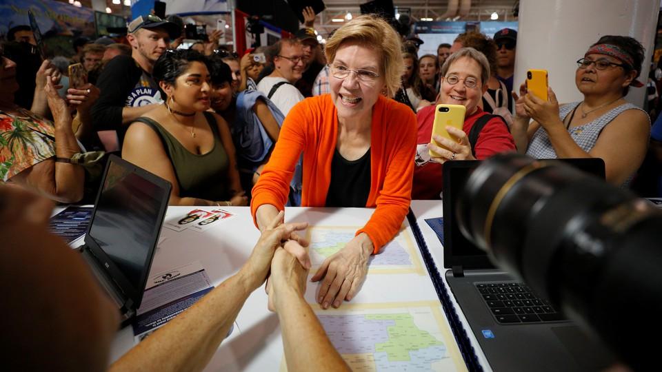 Elizabeth Warren greets people at the Iowa State Fair