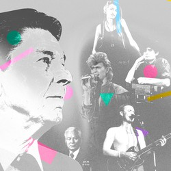 Illustration of Ronald Reagan and '80s musicians