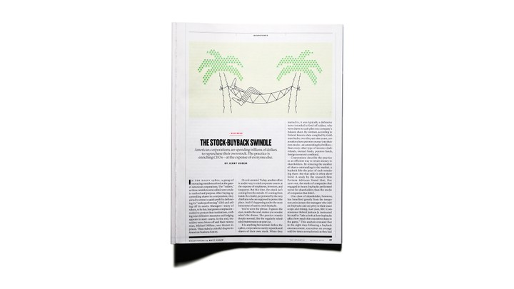 """Image of """"The Stock-Buyback Swindle"""" article in print in The Atlantic Magazine"""