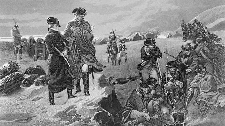 French military leader Marquis de Lafayette and General George Washington at Valley Forge encampment of the Continental Army during the winter of 1777-78