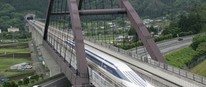 A maglev train on a test track outside Tokyo. A scheme to build a line between Baltimore and Washington, D.C., has been in the works for years.