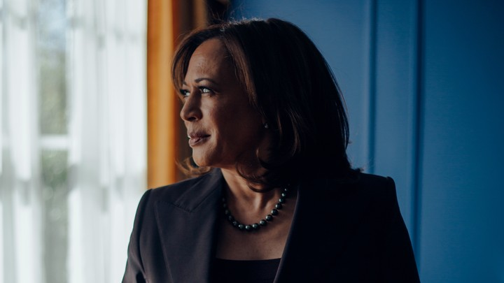 Senator Kamala Harris looking to her right