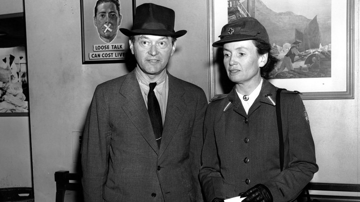 Walter Lippmann and his wife Helen Byrne arrive on the S.S. Manhattan on April 1, 1940