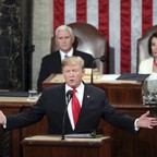 Donald Trump delivering the State of the Union on February 5, 2019.