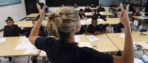 A photo of a teacher at Animo Westside Charter Middle School in Los Angeles.