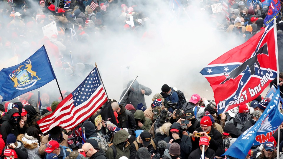 A crowd of pro-Trump supporters