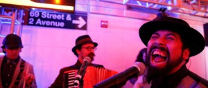 The Sunnyside Social Club, a member of the MTA MUSIC program, performs at the 2nd Avenue Subway station in Manhattan.