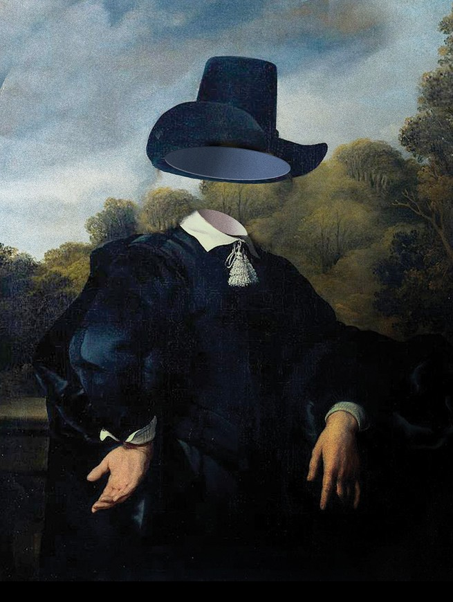 illustration of painting of 17th-century person with head rendered invisible under Puritan hat