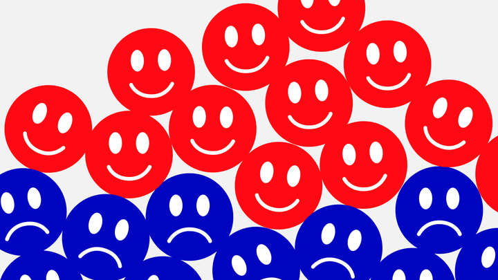 An illustration of red smiley faces on top of blue frowny faces