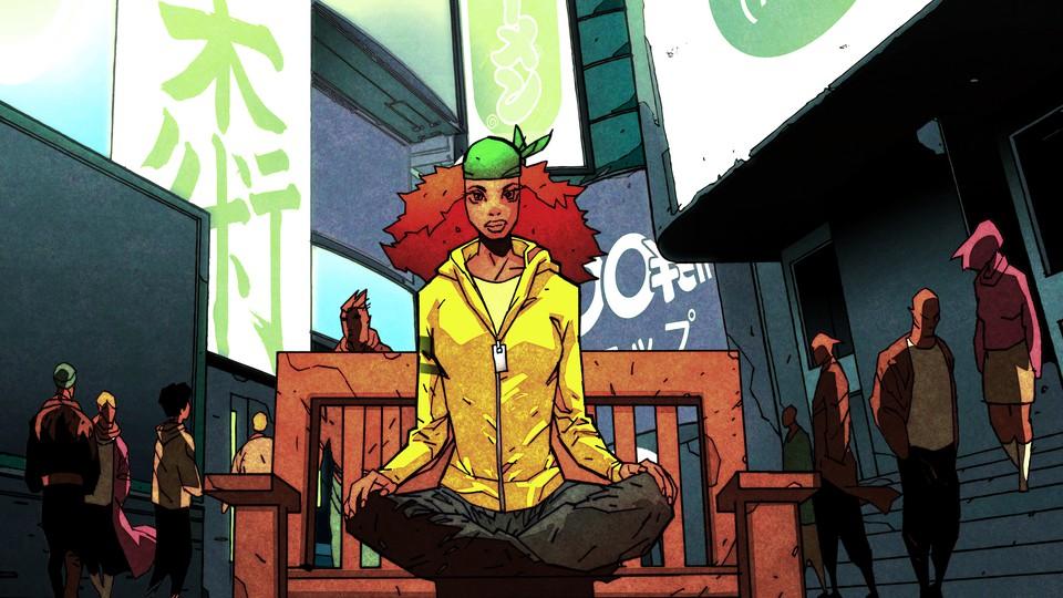 A woman sitting cross-legged on a bench