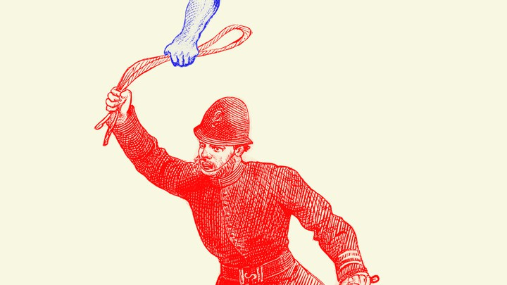 illustration of a man holding a whip