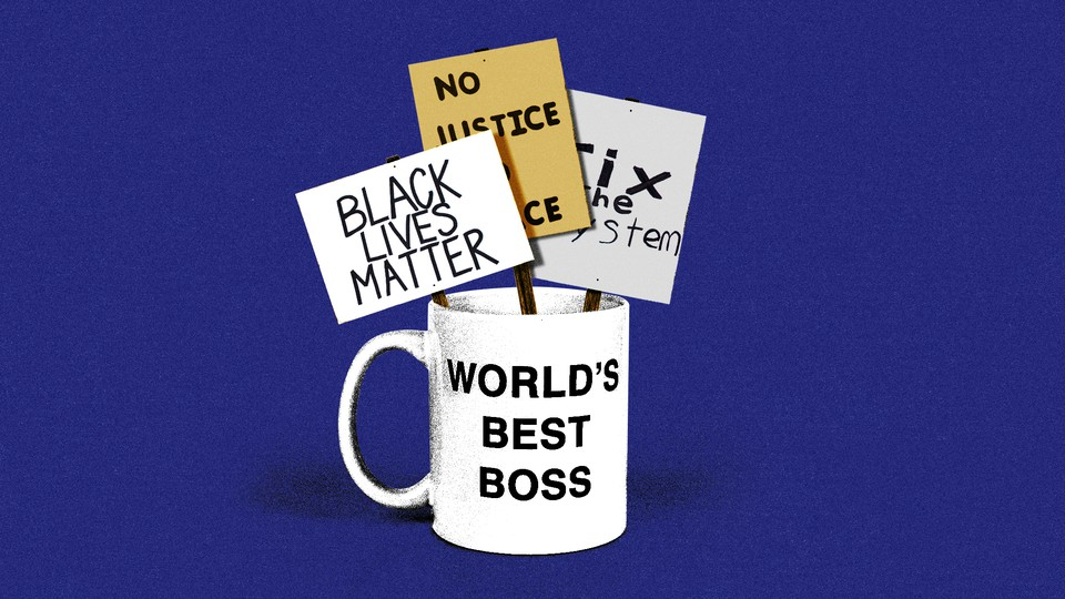 """An illustration of a mug reading """"World's Best Boss"""" with """"Black Lives Matter,"""" """"No Justice, No Peace,"""" and """"Fix the System"""" signs inside it"""