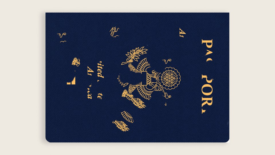 A passport with lettering falling off