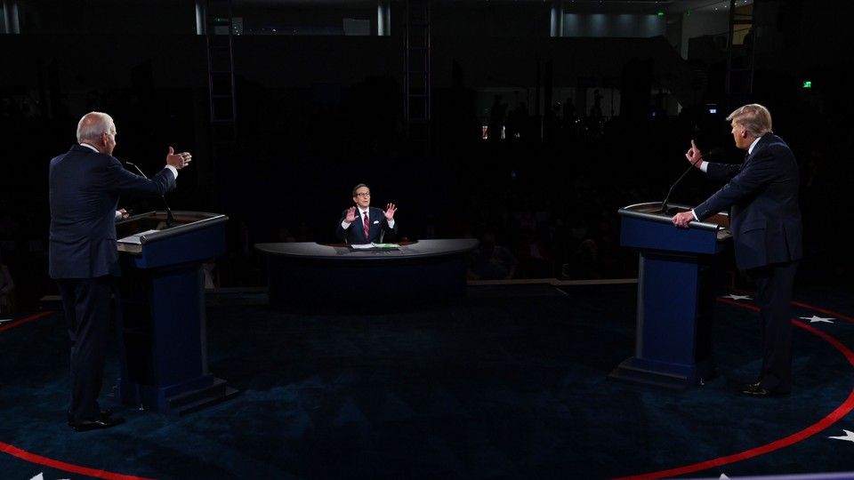 Donald Trump, Joe Biden, and Chris Wallace during the first presidential debate of 2020