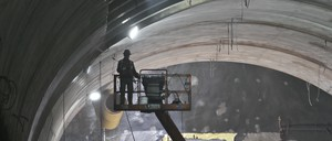 A construction worker inside the 86th Street cavern of the Second Avenue Subway tunnel in 2014
