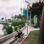 photo: A waterfront park in Macau.