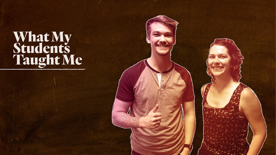 A custom illustration featuring Ashley Lamb-Sinclair and Connor Cummings superimposed on the image of a chalkboard.