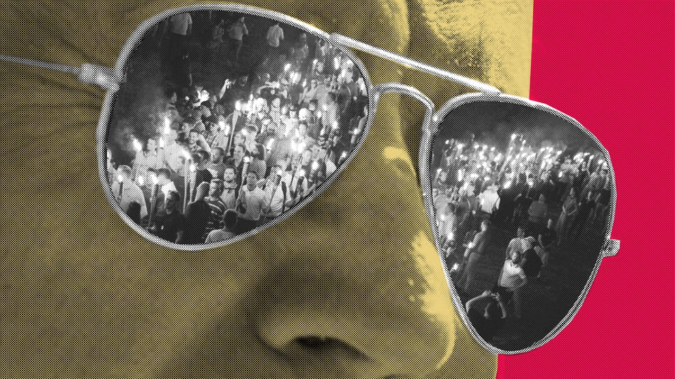 Art of Joe Biden wearing sunglasses, with photos of Charlottesville marchers reflected in the shades
