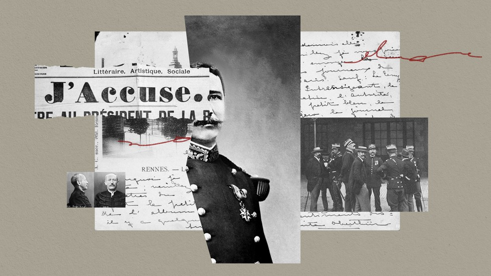 A collage featuring French letters, newspaper headlines, and photographs.