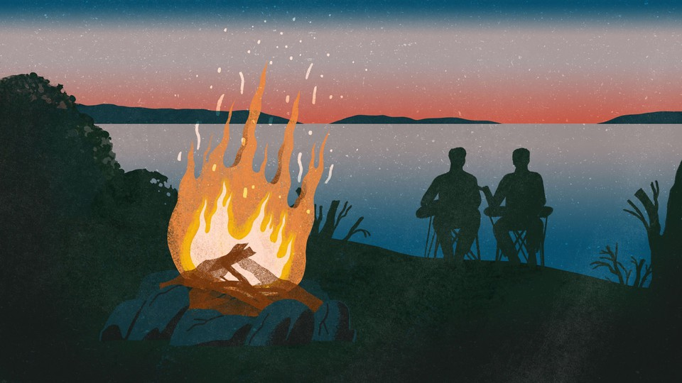 An illustration of a campfire, in the background, the silhouettes of two men sit in camping chairs looking at a sunset over a lake