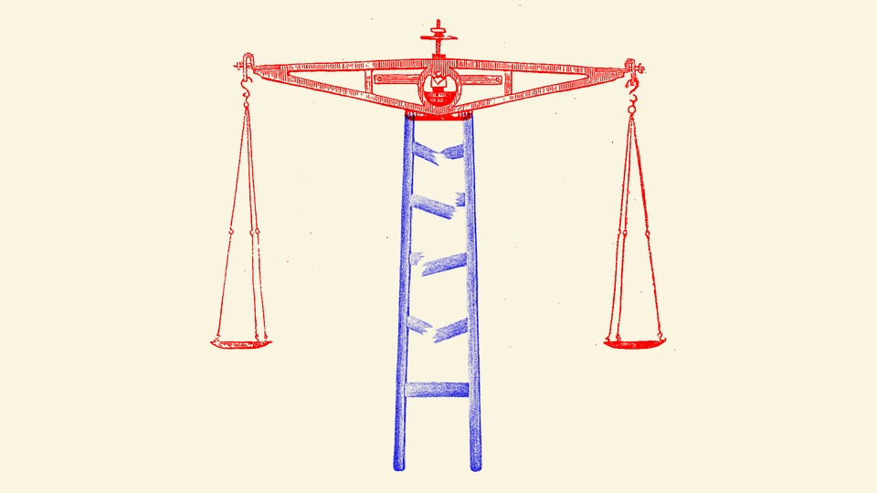 An illustration of a broken ladder making up the center of the scales of justice
